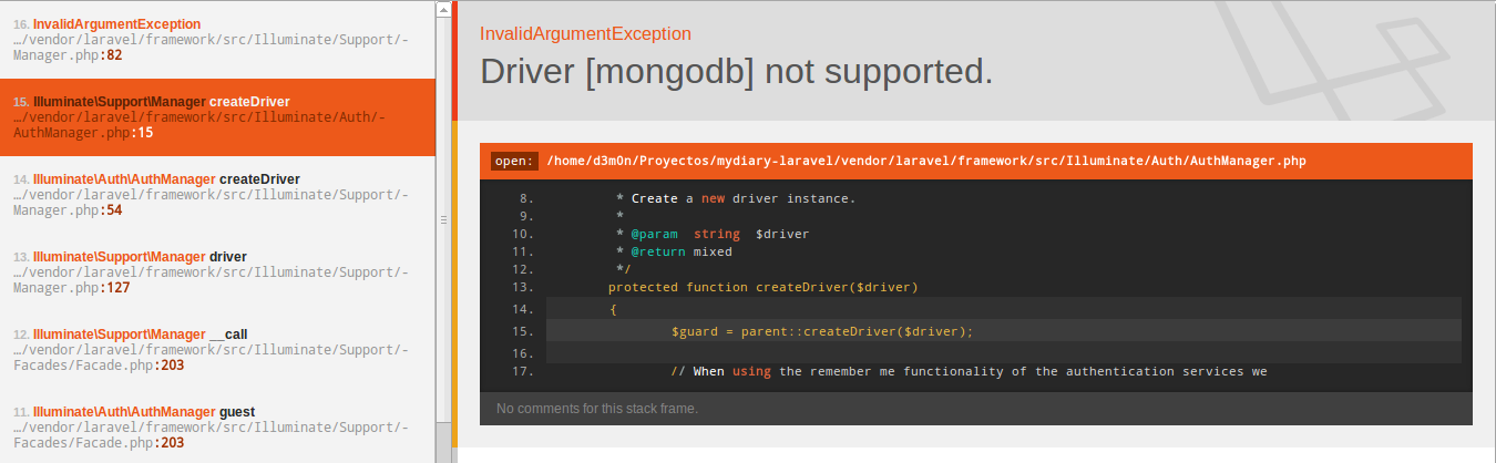 Driver [mongodb] not supported  · Issue #2 · jenssegers