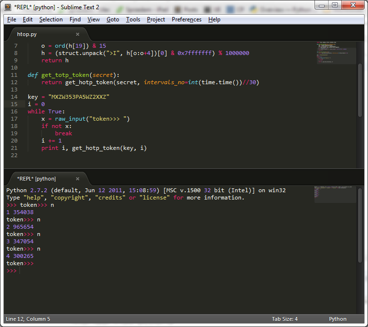 Running python code in SublimeREPL
