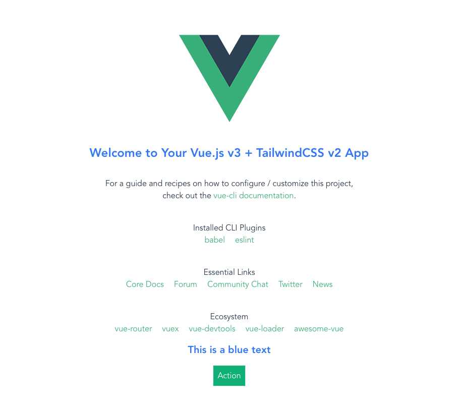 Vue app with TailwindCSS