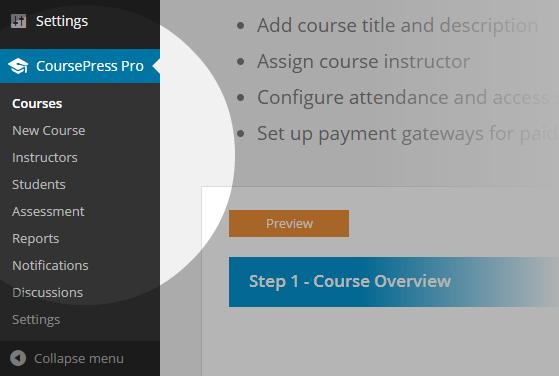 CoursePress Pro - Menu
