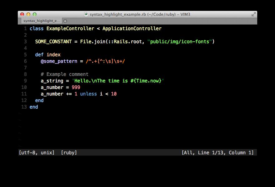 Screenshot with Ruby code
