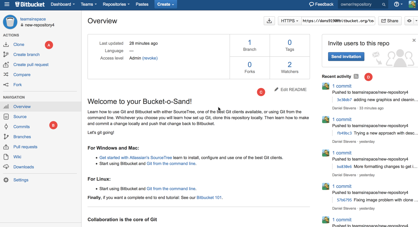 Looking at a repository in Bitbucket