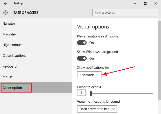 Ease of Access configuration