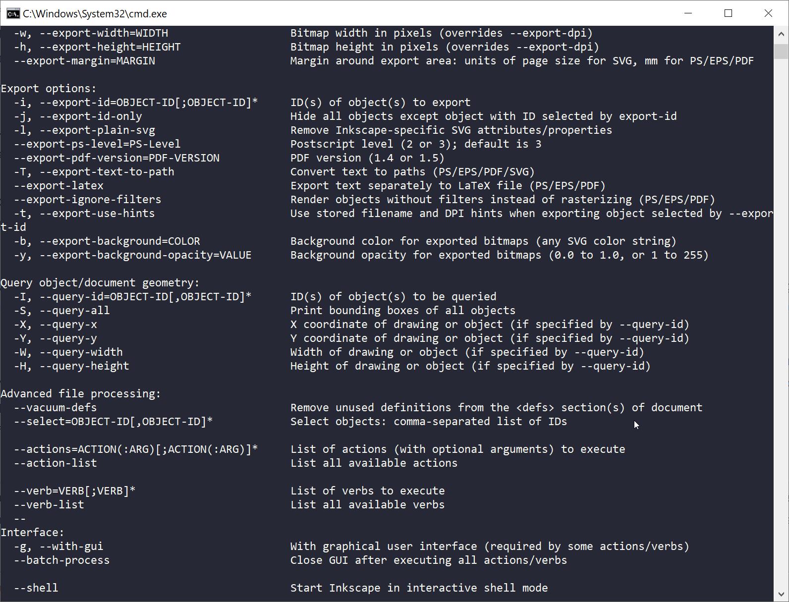 Inkscape help output