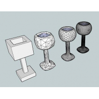 A wine glass model in Sketchup smoothed using this plugin