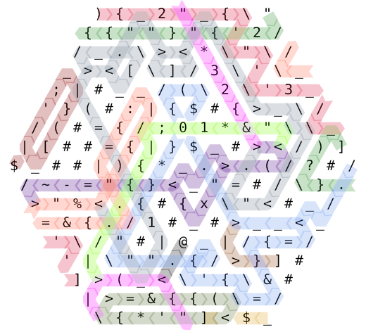 Hexagony program with colour-coded code paths