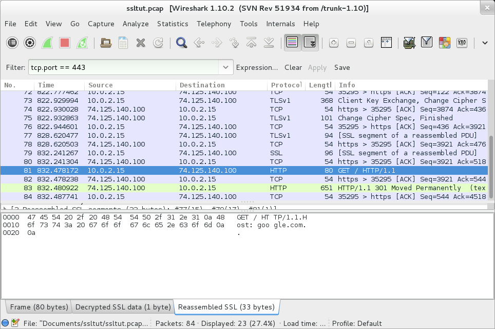 A screenshot showing the decrypted SSL session