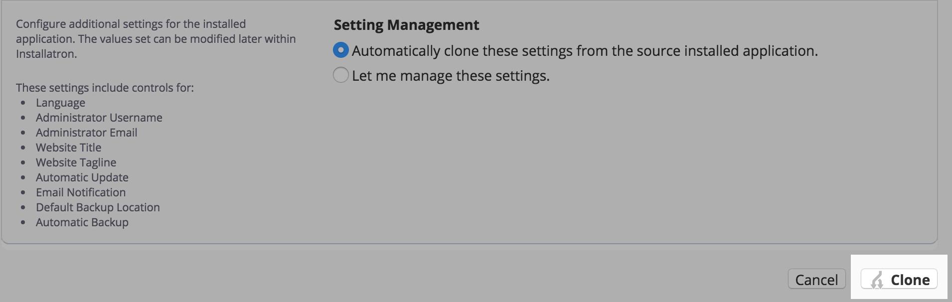 Start Clone Tool