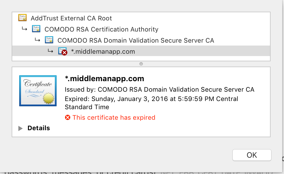 Middleman Ssl Certificate Expired Issue 1730 Middleman