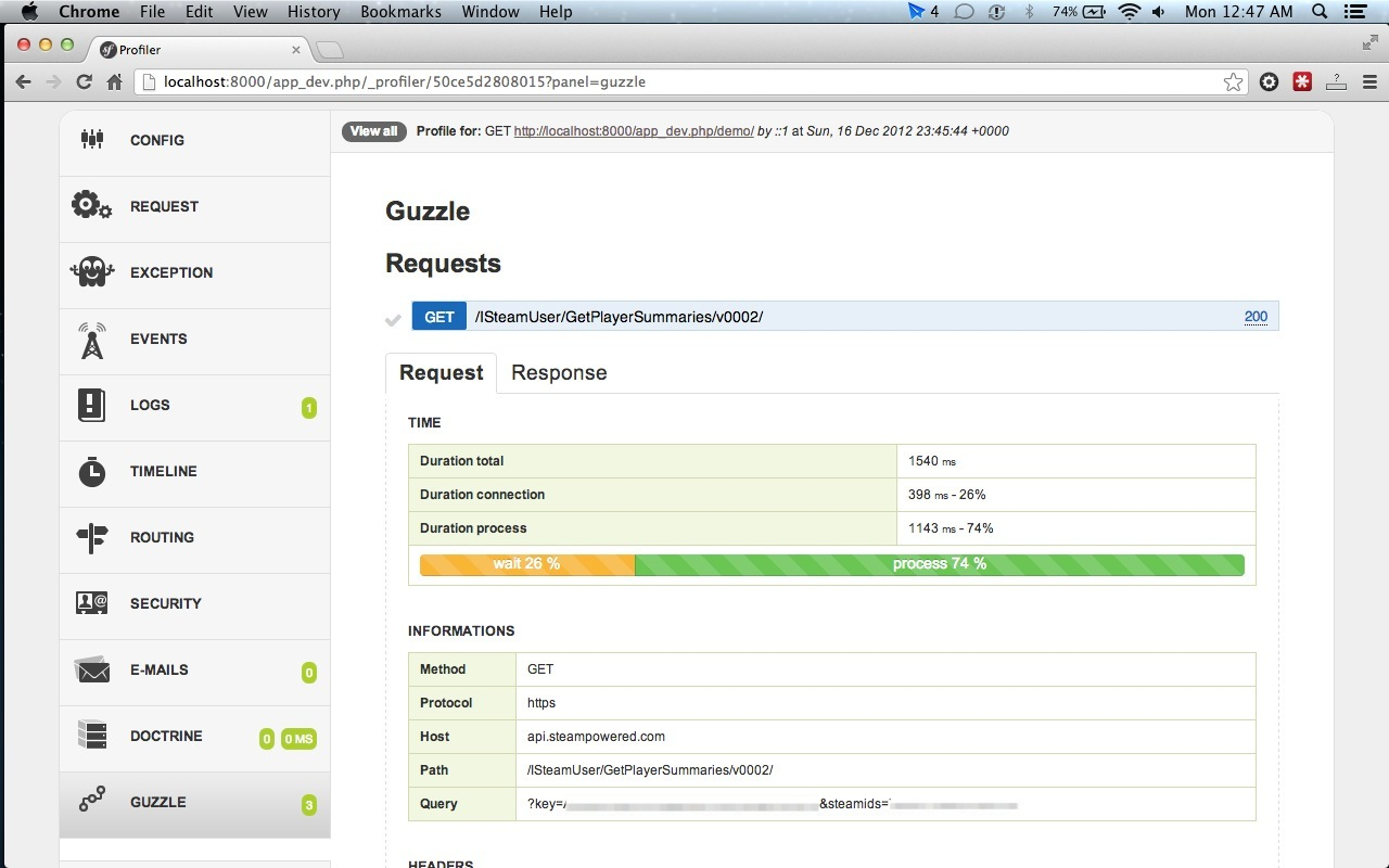 Guzzle Symfony web profiler panel - request details
