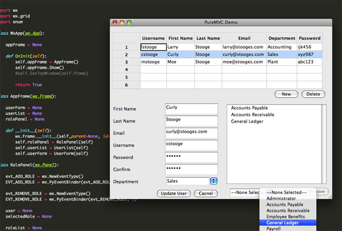 PureMVC Python Demo: Employee Admin