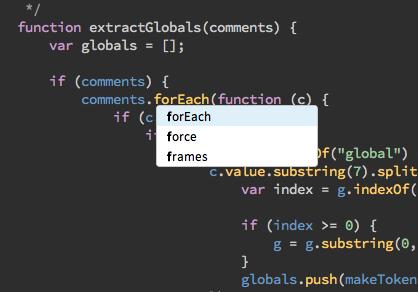 JS hint screenshot