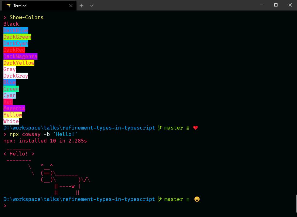 "screenshot of terminal presenting colors and borg cowsay saying ""Hello!"""