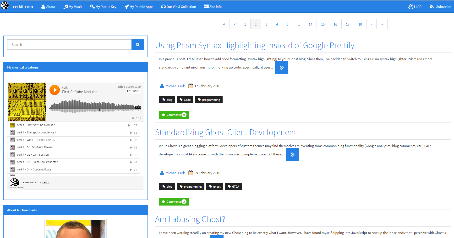 Screenshot of a site using the theme
