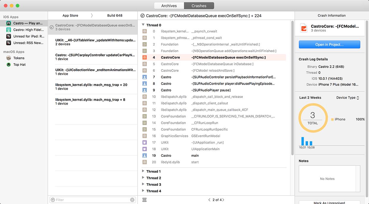 图为 Xcode 中的 Crashes 标签栏所展示的用户崩溃信息