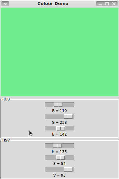 RGB and HSV Colour Selector Demo in Python