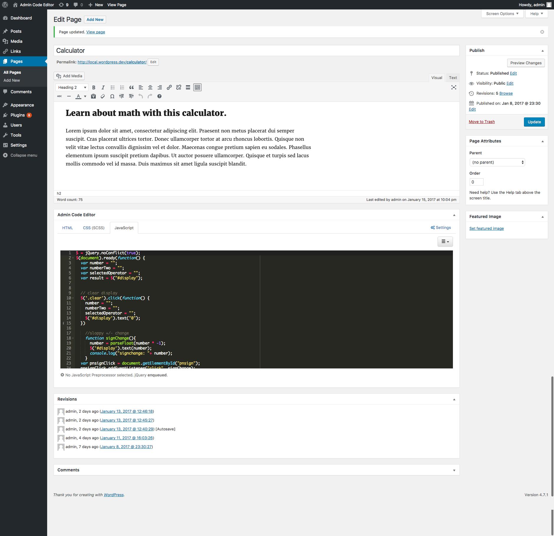 The Admin Code Editor JavaScript Editor.