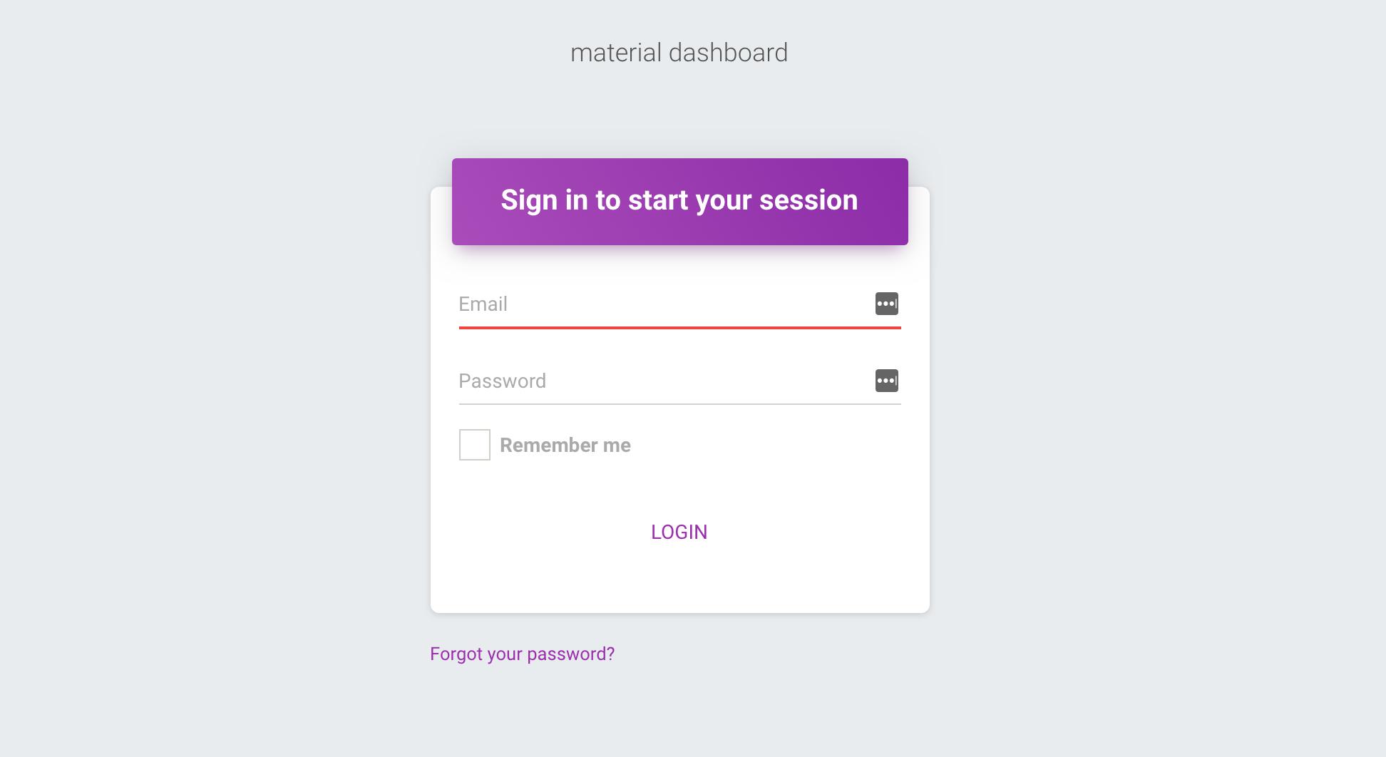 Laravel Material Dashboard screenshot