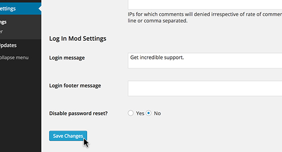 Log In Message configuration is simple and convenient