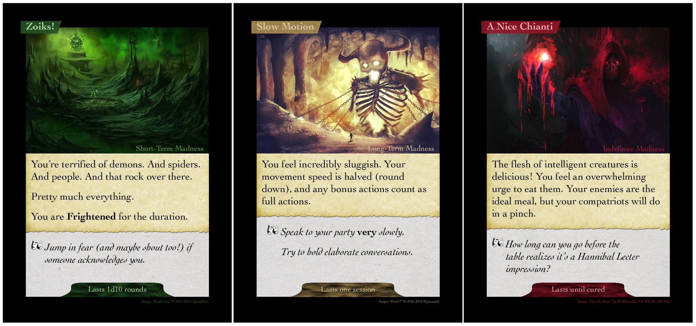 Example of Each Type of Card