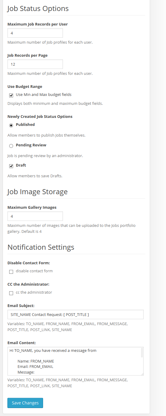 Jobs and Experts - Jobs Settings