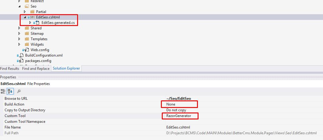 File properties with Razor Generator tool
