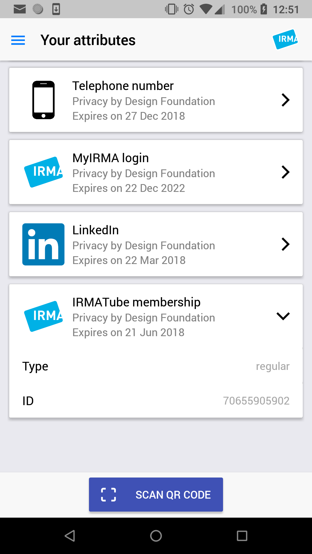 Screenshot of the IRMA app on Android, showing the 'Your Attributes' screen with four credentials.