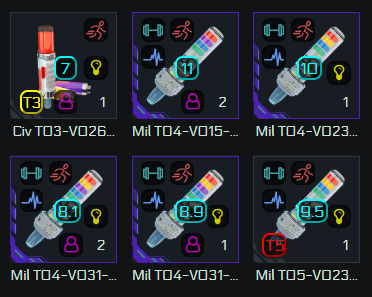 Stims with overlaid icons