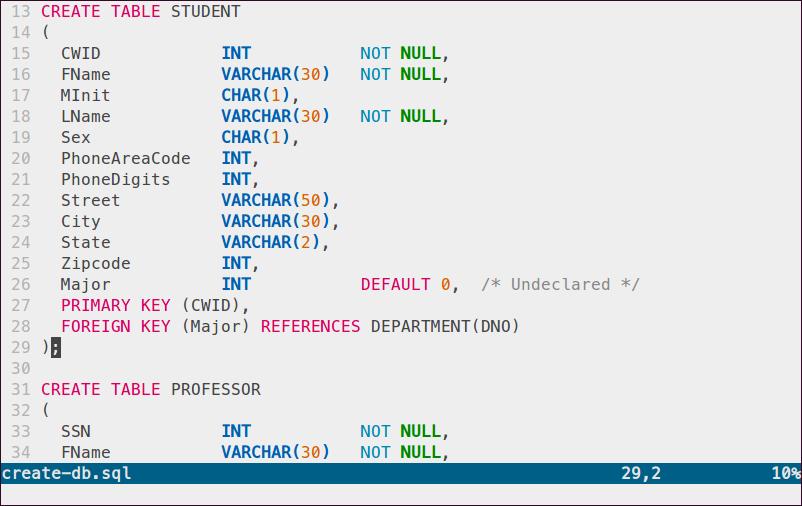 Sample MySQL code