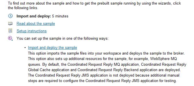 Figure 6 - Import and deploy the sample