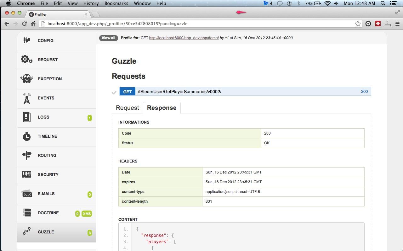 Guzzle Symfony web profiler panel - response details