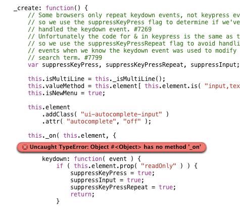 Uncaught TypeError: Object #<Object> has no method '_on' Jquery ui