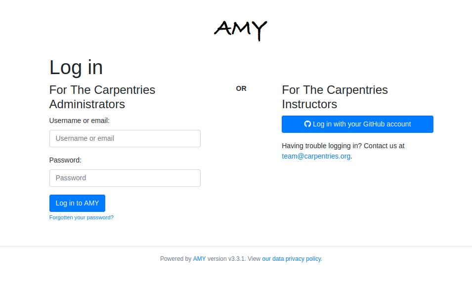 AMY Database tool login window, allowing login with username/password or GitHub account