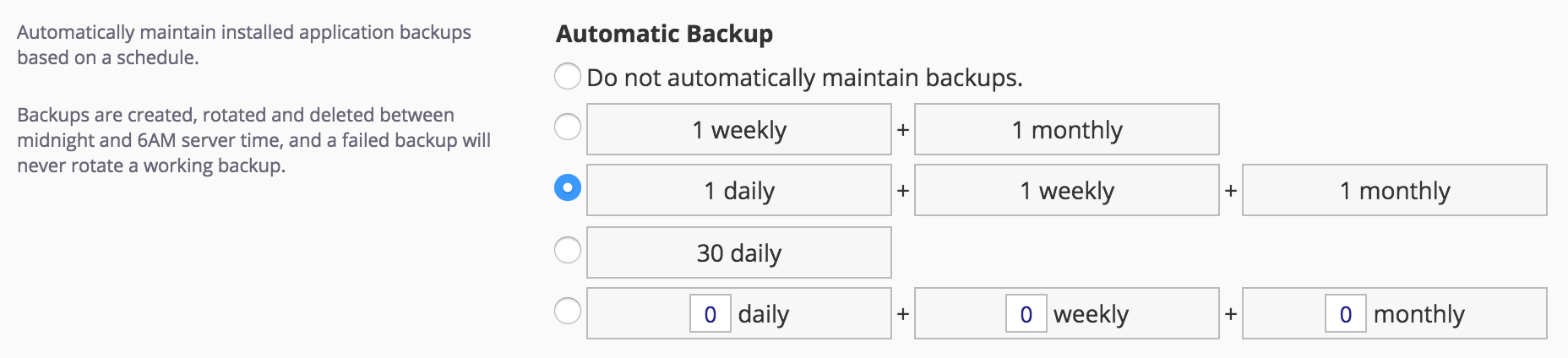 Automated Backup Intervals