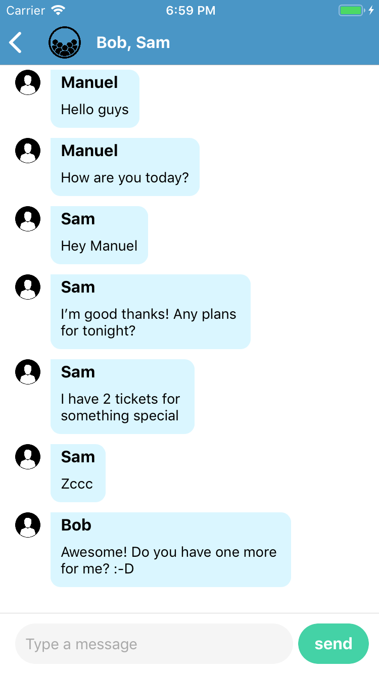 Chat code sample for NativeScript - chat history