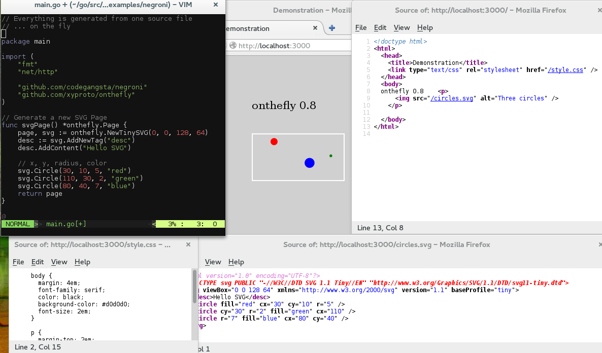 GitHub - xyproto/onthefly: Generate TinySVG, HTML and CSS on
