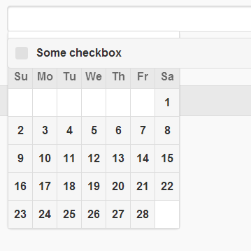 The popup datepicker positions itself behind checkboxes