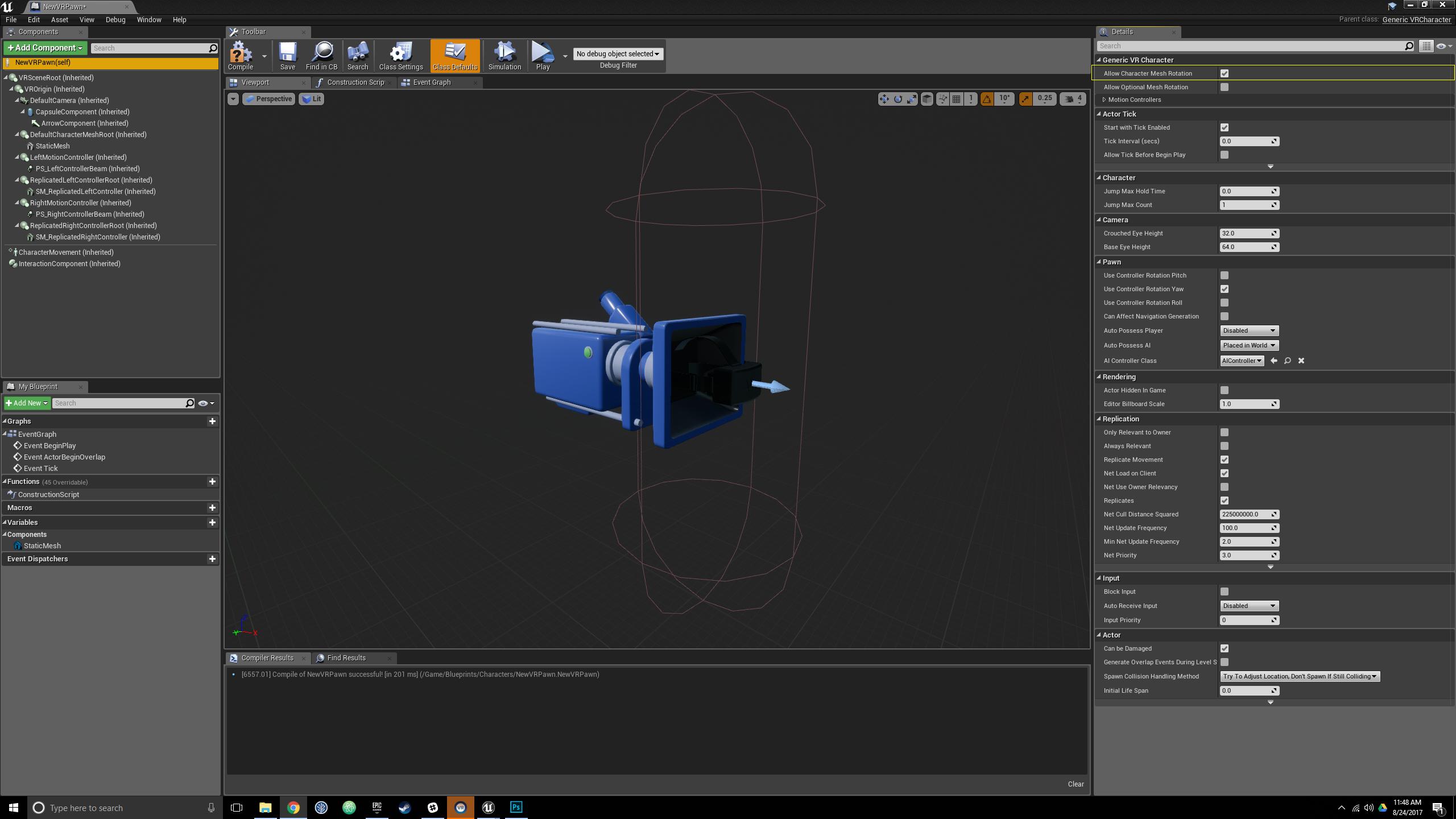Setting Up the VR Character Class · jakeflynn/ue4-vr-starter