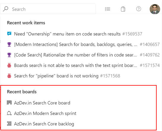 Search for boards, backlogs, queries and sprint