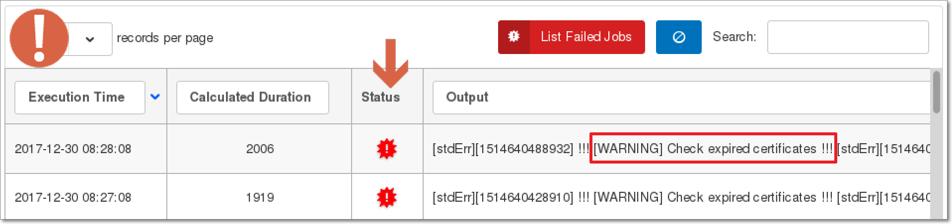WLSDM for WebLogic: Failed Scheduler CRON Jobs List