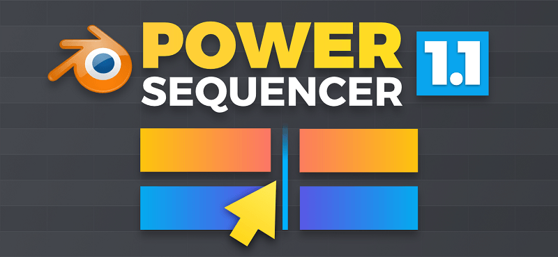 Power Sequencer logo, with the add-on's name and strips cut in two