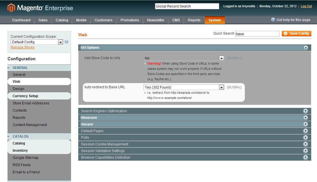 Screen Shot of QConfig