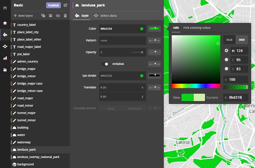 colores en Mapbox