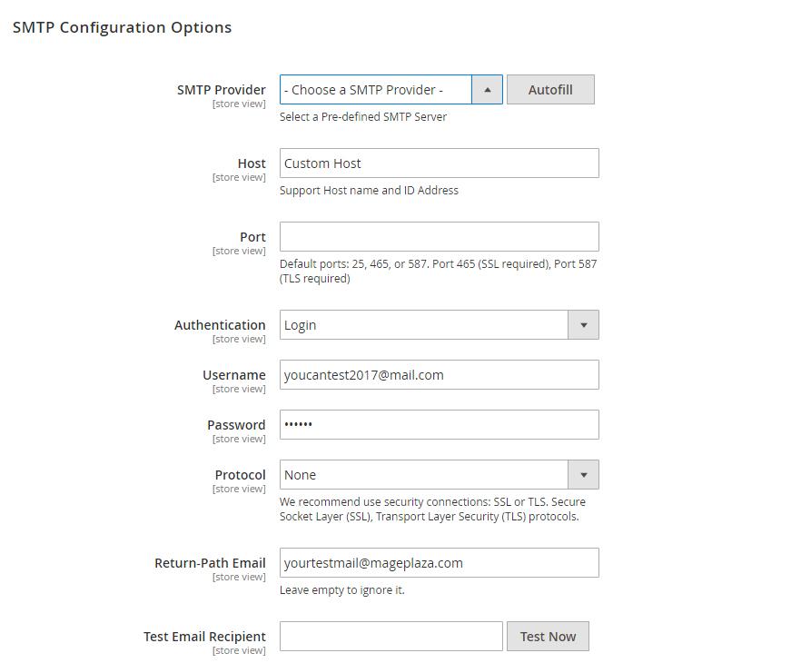 magento 2 smtp configuration