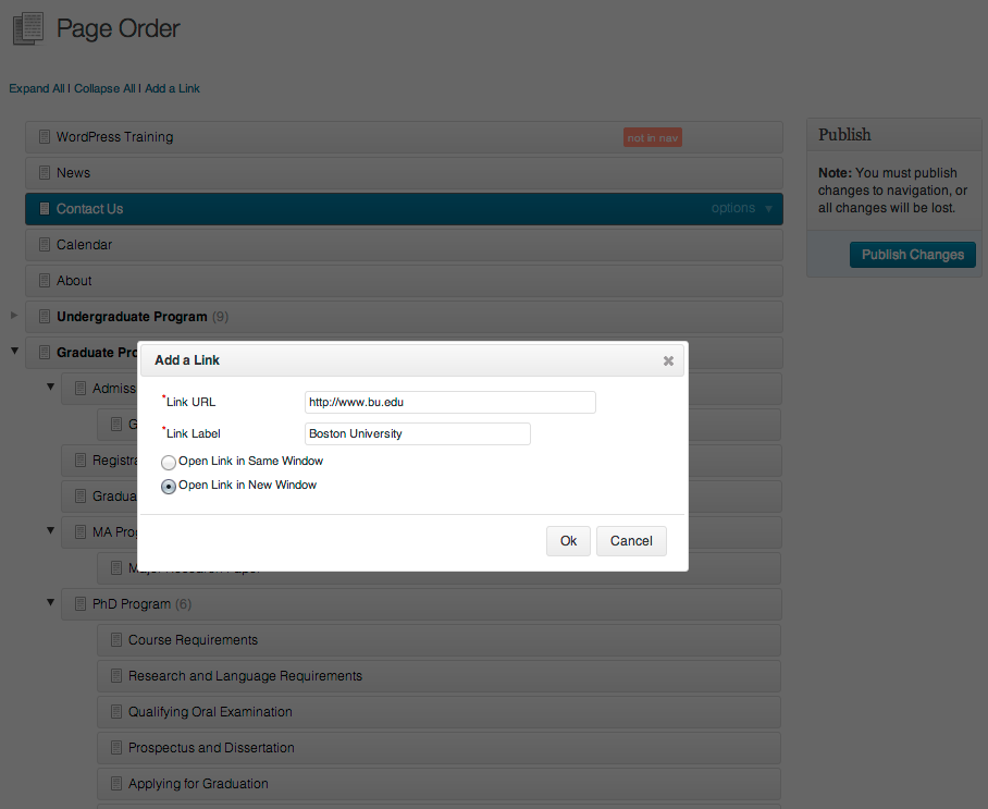 """The """"Add a Link"""" tool allows you to add external links to your navigation lists"""