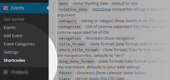Event - Shortcodes menu