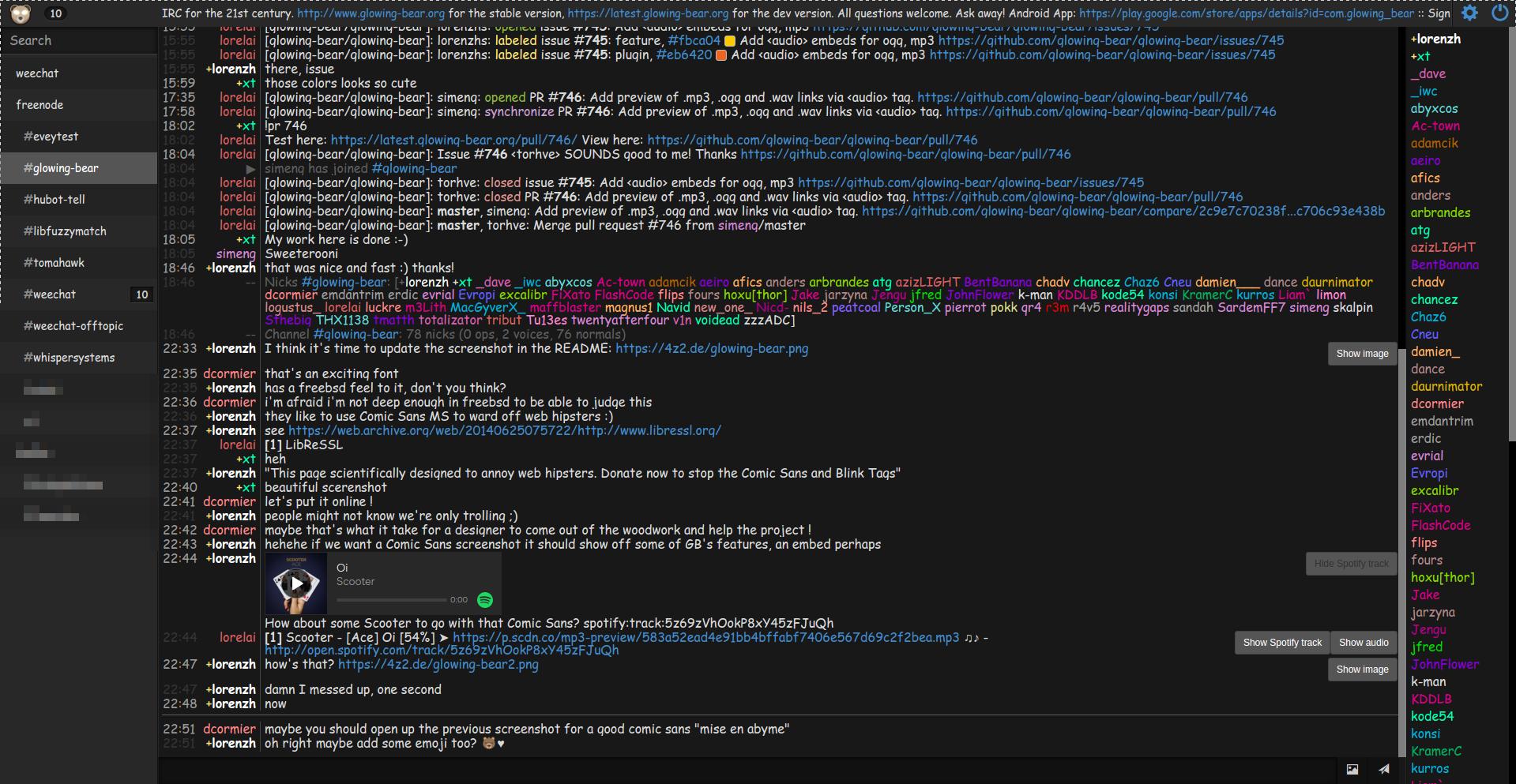 Glowing Bear screenshot with lots of Comic Sans MS