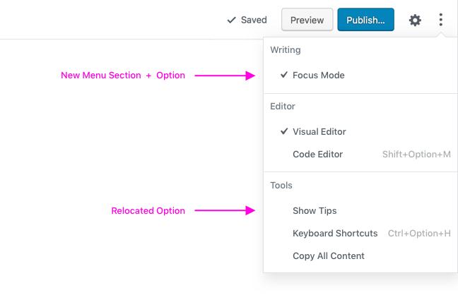 Writing Option in Menu