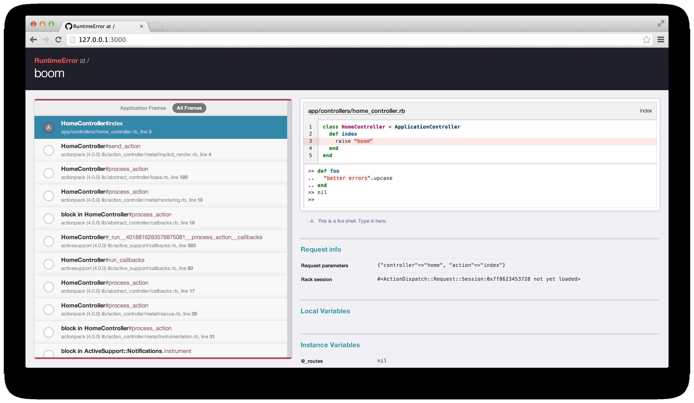 screenshot of Better Errors in action