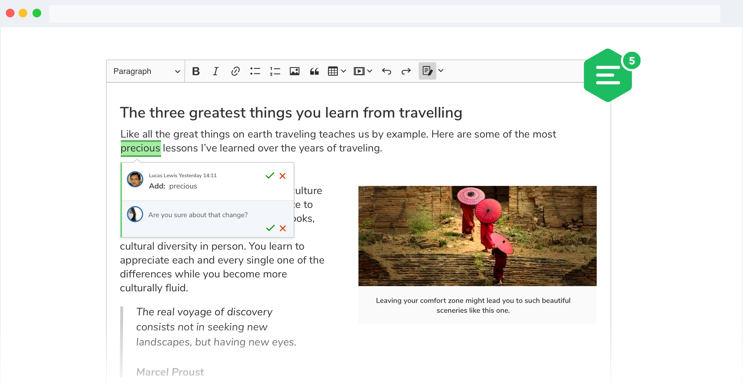 A screenshot of CKEditor 5 track changes feature with suggestions displayed inline